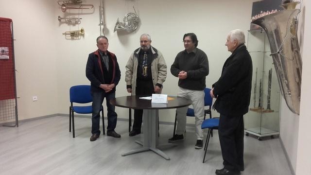 Réception à l'espace muséographique ; de gauche à droite : Jean Cavaillès - Roland Cure - Jean-Louis Soulet - Noël Grand