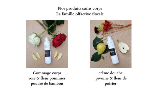 Nos produits soins corps La famille olfactive florale hepia Gommage corps creme douche rose & fleur pommier pivoine & fleur de poudre de bambou poirier