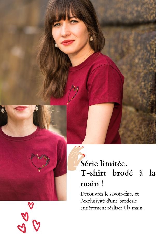 Serie limitee. T-shirt brode a la main Decouvrez le savoir-faire et l'exclusivite d'une broderie entierement realiser a la main.