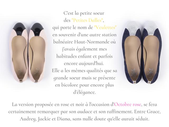 Chaussures plates dite ballerines Veulettes bi-color en cuir chèvre velours rose et noir et bleu et argent fabriquées en france