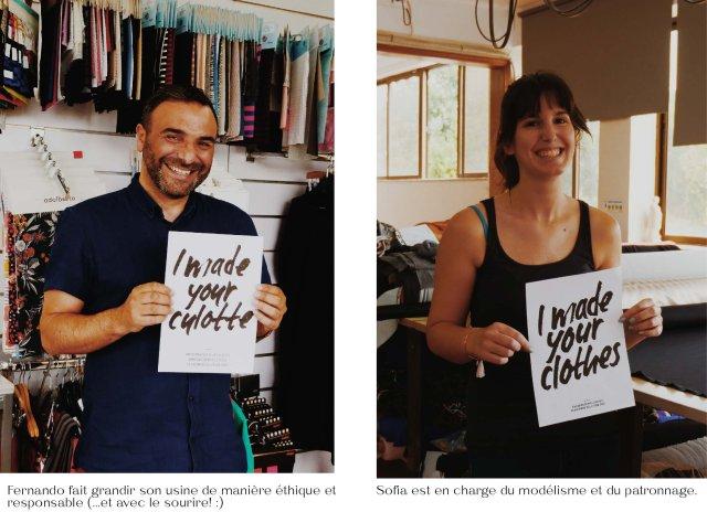 Fernando fait grandir son usine de manière éthique et responsable (...et avec le sourire! :). Sofia est en charge du modélisme et du patronnage.