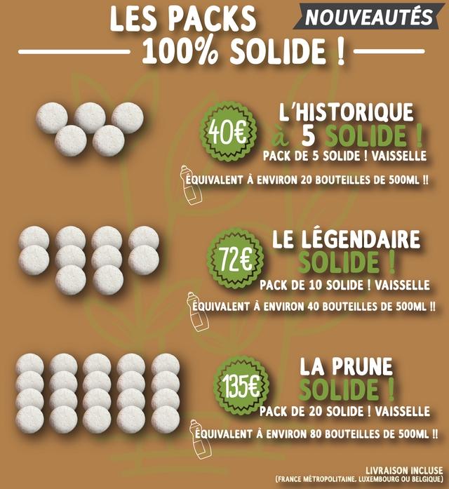 LES PACKS NOUVEAUTES 100%0 SOLIDE HISTORIQUE SOLDE PACK DE 5 SOLIDE VAISSELLE EQUIVALENT A ENVIRON 20 BOUTEILLES DE 500ML !! LE LEGENDAIRE SOLIDE PACK DE 10 SOLIDE VAISSELLE EQUIVALENT A ENVIRON 40 BOUTEILLES DE 500ML !! LA PRUNE 135E SOLIDE PACK DE 20 SOLIDE VAISSELLE EQUIVALENT A ENVIRON 80 BOUTEILLES DE 500ML !! LIVRAISON INCLUSE (FRANCE METROPOLITAINE. LUXEMBOURG OU BELGIQUE)