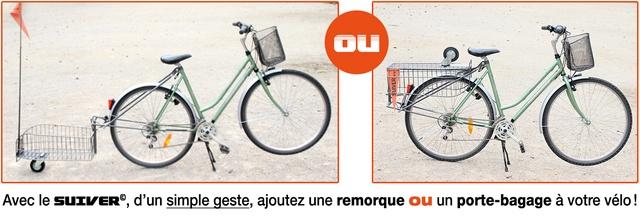 Avec le SUIVER©, d'un simple geste, ajoutez une remorque ou un porte-bagage à votre vélo !