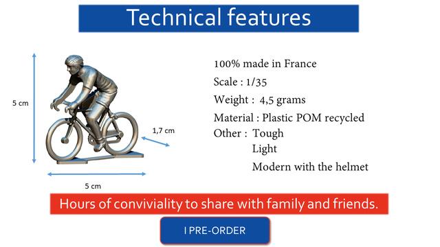 Technica features 100% made in France Scale 1/35 5 cm Weight : 4,5 grams Material Plastic POM recycled 1,7 cm Other : Tough Light Modern with the helmet 5 cm Hours of conviviality to share with family and friends IPRE-ORDER