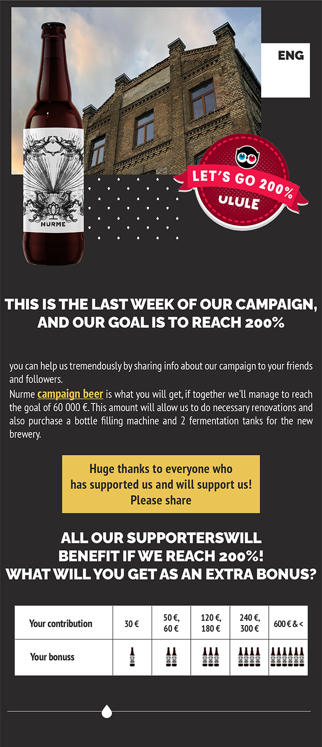 ENG LET'S 200° ULULE NURME THIS IS THE LAST WEEK OF OUR CAMPAIGN, AND OUR GOAL IS TO REACH 200% you can help us tremendously by sharing info about our campaign to your friends and followers. Nurme campaign beer is what you will get, if together we'll manage to reach the goal of 60 000 €. This amount will allow us to do necessary renovations and also purchase a bottle filling machine and 2 fermentation tanks for the new brewery. Huge thanks to everyone who has supported us and will support us! Please share ALL OUR SUPPORTERSWILL BENEFIT IFWE REACH 200% WHAT WILL YOU GET AS AN EXTRA BONUS? 50 €, 120 €, 240 €, Your contribution 30 60 € 180 € 300 11 Your bonuss