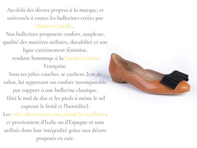 chaussures femme avec confort, souplesse, qualité des matières durabilité, élégance et style haute-couture française par maison castille