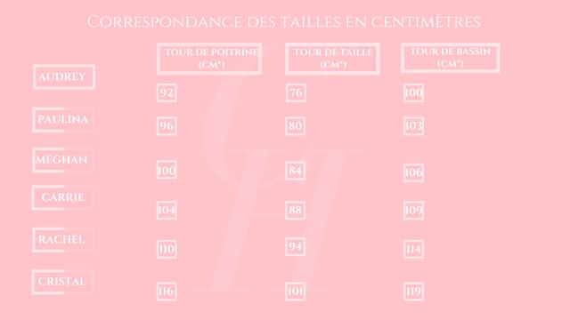 """CORRESPONDANCE DES TAILLES EN CENTIMETRES TOUR DE POITRINE TOUR DE TAILLE TOUR DE BASSIN (CM"""") (CM"""") (CM"""") AUDREY 92 76 100 PAULINA 96 80 103 MEGHAN 100 84 106 CARRIE 104 88 109 RACHEL 110 94 114 CRISTAL 101 119 116"""