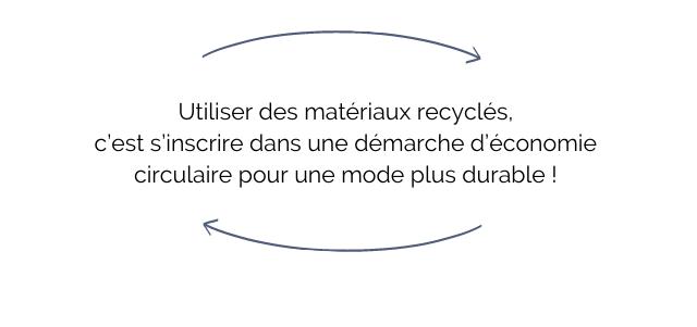 Utiliser des materiaux recycles, c'est S'inscrire dans une demarche d'economie circulaire pour une mode plus durable