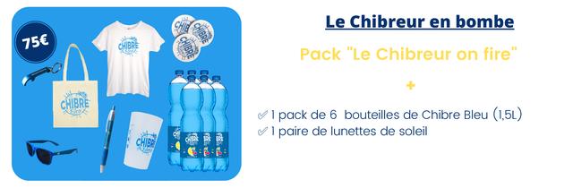 """Le Chibreur en bombe CHIBRE Pack """"Le Chibreur on fire"""" CHIBRE pack de 6 bouteilles de Chibre Bleu (1,5L) 1 paire de lunettes de soleil"""