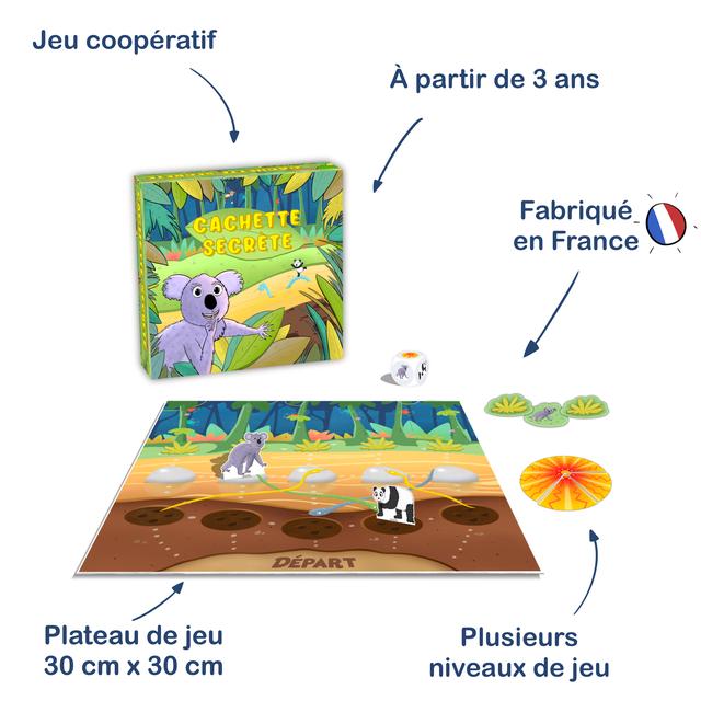 Jeu cooperatif A partir de 3 ans Fabrique en France DEPART Plateau de jeu Plusieurs 30 cm X 30 cm niveaux de jeu