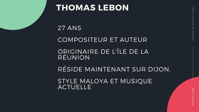 THOMAS LEBON 27 ANS COMPOSITEUR ET AUTEUR ORIGINAIRE DE L'ILE DE LA REUNION RESIDE MAINTENANT SUR DIJON STYLE MALOYA ET MUSIQUE ACTUELLE