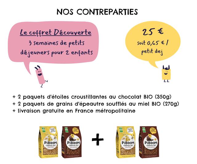 NOS CONTREPARTIES Le coffret Decouverte 25 E 3 Semaines de petits Soit 0,65 E / dejeuners pour 2 enfants petit dei LL L L + 2 paquets d'etoiles croustillantes chocolat BIO (350g) + 2 paquets de grains d'epeautre souffles miel BIO (270g) + livraison gratuite en France metropolitaine PiBOOM PiBOOM + PiBOOM PiBOOM CEREALES BIO CEREALES BIO CEREALES BIO CEREALES BIO