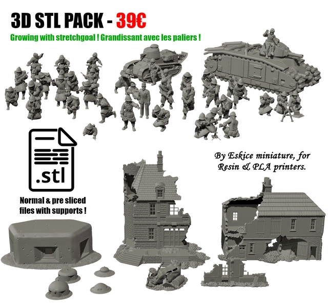 30 STL PACK-39C Growing with stretchgoal Grandissant avec les paliers By Eskice miniature, for Resin PLA printers. stl Normal pre sliced files with supports