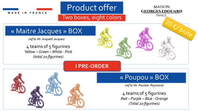 Product offer MAISON MADE M D E I N F FRANCE R A N C E GEORGES EDOUARD Two boxes, eight colors FRANCE < Maitre Jacques > BOX (ref to Mr. Anquetil Jacques) 4 teams of 5 figurines Yellow - Green - White - Pink (total 20 figurines) I PRE-ORDER < Poupou BOX (refto Mr. Poulidor Raymond) 4 teams of 5 figurines Red - Purple Blue - Orange (Total 2ofigurines)