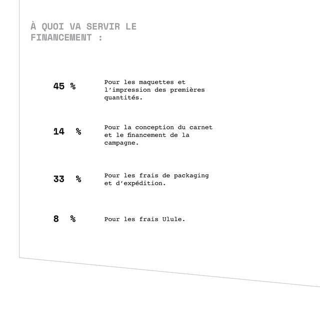 A QUOI VA SERVIR LE FINANCEMIENT 45 % Pour les maquettes et l'impression des premieres quantites. Pour la conception du carnet % et le financement de la campagne. 33 % Pour les frais de packaging et d'expedition. 8 % Pour les frais Ulule.