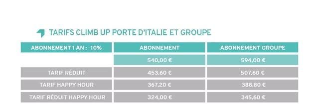 TARIFS CLIMB UP PORTE D'ITALIE ET GROUPE ABONNEMENT 1 AN:-10% ABONNEMENT ABONNEMENT GROUPE 540.00 e 594.00 e TARIF REDUIT 453.60 507,60 TARIF HAPPY HOUR 367.20 e 388.80 TARIF REDUIT HAPPY HOUR 324.00 345.60 e