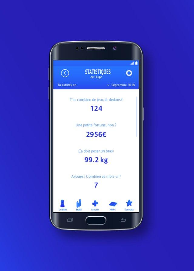 Statistiques ludothèque - application mobile Luditek - jeux de société