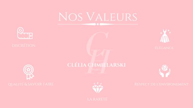 OS VALEURS DISCRETION ELEGANCE CLELIA CHMIELARSKI PARIS RESPECT DE L'ENVIRONEMENT UALITE& SAVOIR FAIRE LARARETE
