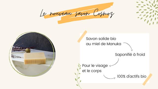 Le Savon solide bio au miel de Manuka Saponifie a froid Pour le visage et le corps 100% d'actifs bio
