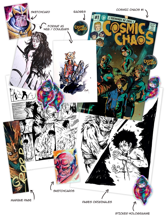 COSMIC CHAOS #1 SKETCHCARD BADGES ) #1 DE CHOC ! FORMAT AS COSMI N&B / COSMIC MORVAN LE REST SKETCHCARDS MARQLE PAGE PAGES ORIGINALES ( STICKER HOLOGRANME
