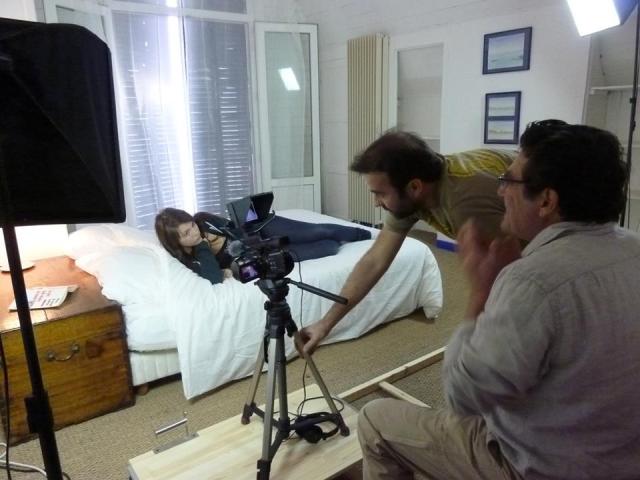 Essai de traveling lors du tournage du film Elle de Jean-Marie PERON