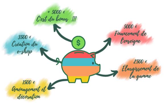 + 5000 € C'est du !!! 5000 Financement de 3500 f Creation du e-shop 2500 f Hargissement de 1500 et decoration
