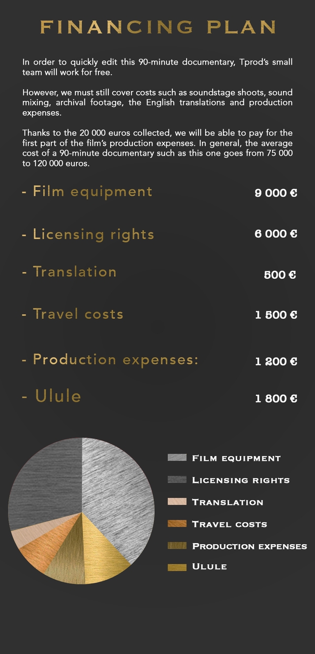 FINANCING PLAN In order to quickly edit this 90-minute documentary, Tprod's small team will work for free. However, we must still cover costs such as soundstage shoots, sound mixing, archival footage, the English translations and production expenses. Thanks to the 20 000 euros collected, we will be able to pay for the first part of the film's production expenses. In general, the average cost of a 90-minute documentary such as this one goes from 75 000 to 120 000 euros. Film equipment 9 000 Licensing rights 6 000 Translation 500 Trave costs 500 Production expenses: 1 200 Ulule 1 800 FILM EQUIPMENT LICENSING RIGHTS TRANSLATION TRAVEL COSTS PRODUCTION EXPENSES ULULE