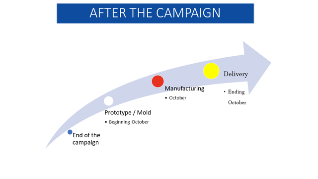 AFTER THE CAMPAIGN Delivery Manufacturing Ending October October Prototype Mold Beginning October End of the campaign