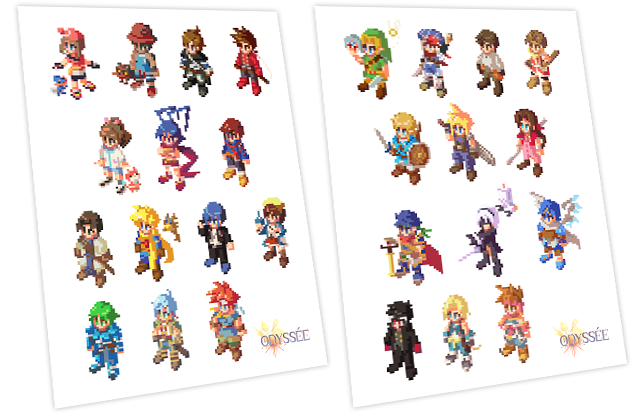 Stickers pixel art des héros de J-RPG!