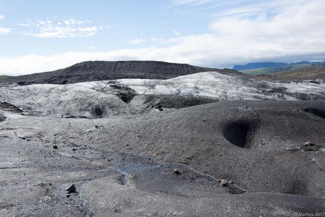 Skaftafell, Svìnafellsjökull, paysage lunaire