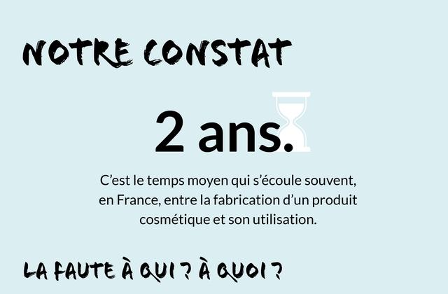 NOTRE CONSTAT 2 ans. C'est Ie temps moyen qui s'ecoule souvent, en France, entre la un produit cosmetique et son utilisation. FAUTE A ? A ?