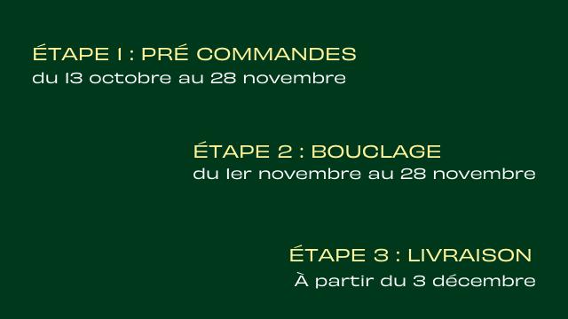 ETAPE I : PRE COMMANDES du 13 octobre au 28 novembre ETAPE 2 : BOUCLAGE du novembre au 28 novembre ETAPE 3 : LIVRAISON A partir du 3 decembre