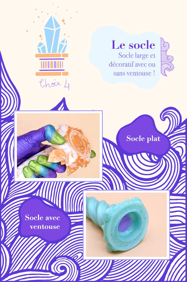 Le socle Socle large et decoratif avec ou sans ventouse ! Choix Socle plat Socle avec ventouse