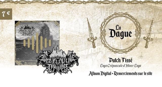 La Dague Patch Tisse Rar-dela Noireglace Logo Crepuscule d'Hiver Logo Album Digital + Remerciements sur le site