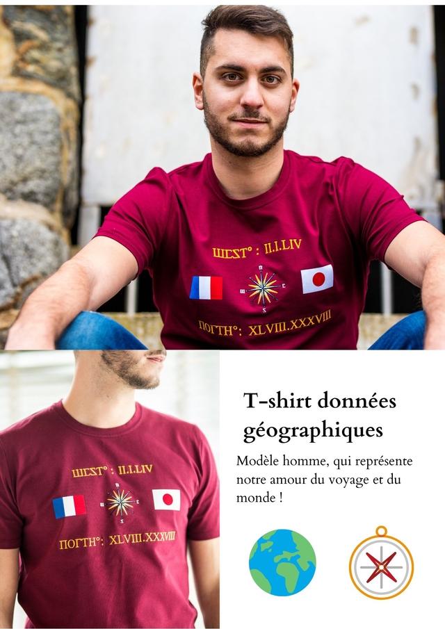 IL.L.LIV XLVI.XXXVI T-shirt donnees geographiques Modele homme, qui represente IL.L.LIV notre amour du voyage et du monde XLVII.XXXVII