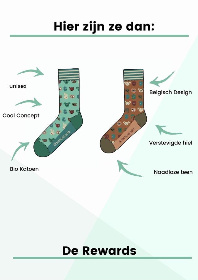 Hier zijn ze dan: unisex Belgisch Design Cool Concept Verstevigde hiel Bio Katoen Naadloze teen Rewards