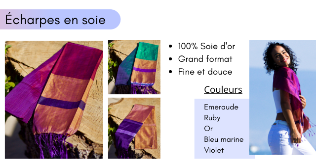 Echarpes en soie 100% Soie d'or Grand format Fine et douce Couleurs Emeraude Ruby Or Bleu marine Violet