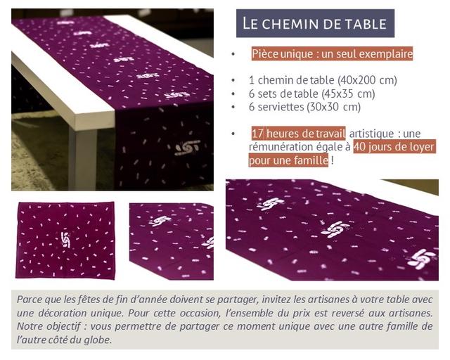 LE CHEMIN Piece unique : un seul exemplaire 1 chemin de table (40x200 cm) 6 sets de table (45x35 cm) 6 serviettes (30x30 cm) 17 heures de travail artistique : une remuneration legale a 40 jours de Loyer pour une famille ! Parce que les fetes de fin d'annee doivent se partager, invitez les artisanes a votre table avec une decoration unique. Pour cette occasion, l'ensemble du prix est reverse aux artisanes. Notre objectif : vous permettre de partager ce moment unique avec une autre de l'autre cote du globe.