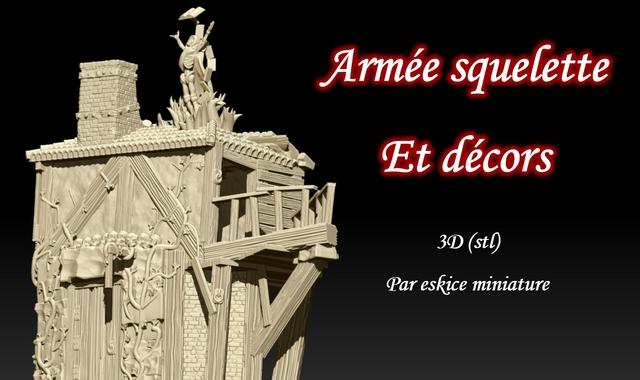 Armee squelette Et decors 3D Par eskice miniature