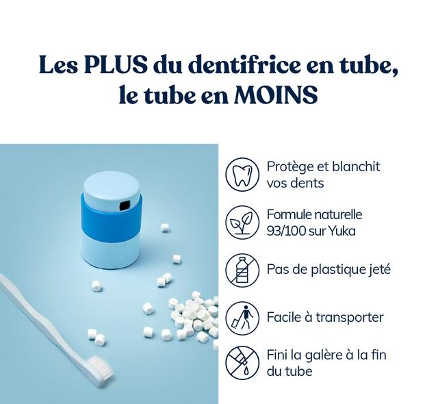 Les PLUS du dentifrice en tube, le tube en MOINS Protege et blanchit VOS dents Formule naturelle 93/100 sur Yuka Pas de plastique jete Facile a transporter Fini la galere a la fin du tube