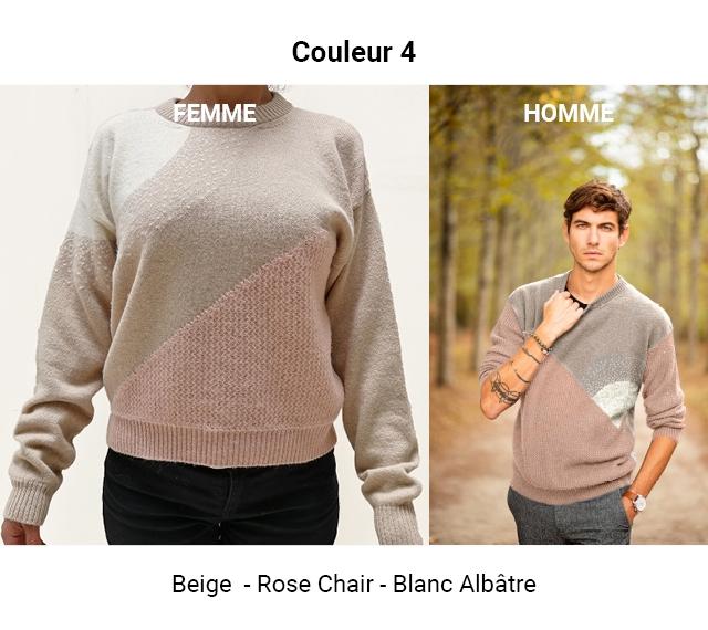 Couleur 4 EMME HOMME Beige - Rose Chair-Blanc - Albatre