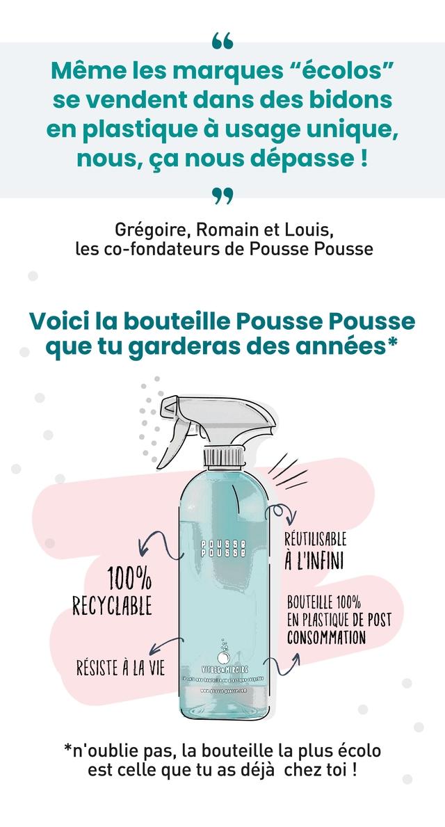 """Meme les marques """"ecolos"""" se vendent dans des bidons en plastique a usage unique, nous, ca nous depasse Gregoire Romain et Louis, les co-fondateurs de Pousse Pousse Voici la bouteille Pousse Pousse que tu garderas des annees* 88888 REUTILISABLE A 'INFIN 100% RECYCLABLE BOUTEILLE 1009 EN PLASTIQUE DE POST CONSOMMATION RESISTE A LA VIE VOTRESOHOROIRS *n'oublie pas, la bouteille la plus ecolo est celle que tu as deja chez toi"""