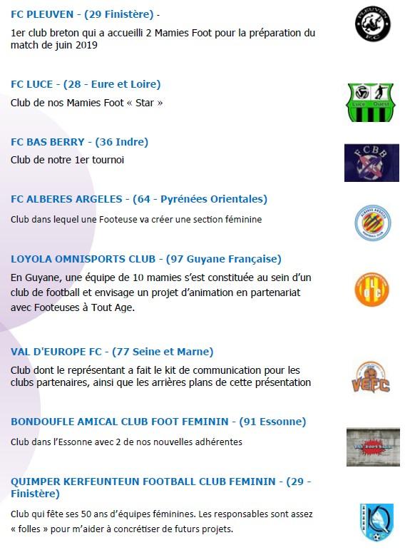 """FC PLEUVEN - (29 Finistère) - 1er club breton qui a accueilli 2 Mamies Foot pour la préparation du match de juin 2019 FC LUCE - (28 - Eure et Loire) Club de nos Mamies Foot Star """" FC BAS BERRY - (36 Indre) Club de notre 1er tournoi FC ALBERES ARGELES - (64 - Pyrénées Orientales) Club dans lequel une Footeuse va créer une section féminine LOYOLA OMNISPORTS CLUB - (97 Guyane Française) En Guyane, une équipe de 10 mamies s'est constituée au sein d'un club de football et envisage un projet d'animation en partenariat avec Footeuses à Tout Age. VAL D'EUROPE FC - (77 Seine et Marne) Club dont le représentant a fait le kit de communication pour les clubs partenaires, ainsi que les arrières plans de cette présentation BONDOUFLE AMICAL CLUB FOOT FEMININ - (91 Essonne) Club dans l'Essonne avec 2 de nos nouvelles adhérentes QUIMPER KERFEUNTEUN FOOTBALL CLUB FEMININ - (29 - Finistère) Club qui fête ses 50 ans d' équipes féminines. Les responsables sont assez folles """" pour m'aider à concrétiser de futurs projets."""