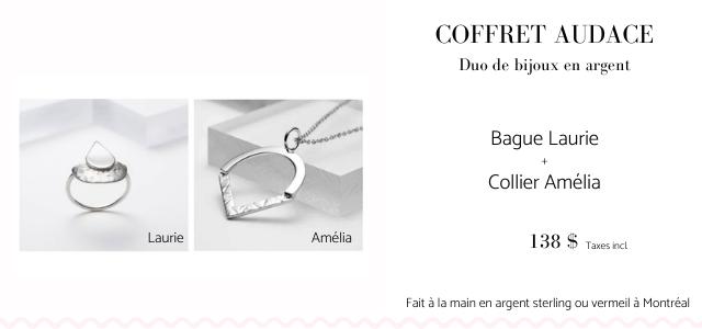 COFFRET AUDACE Duo de bijoux en argent Bague Laurie Collier Amelia Laurie Amelia 138 $ Taxes incl Fait a la main en argent sterling vermeil a Montreal