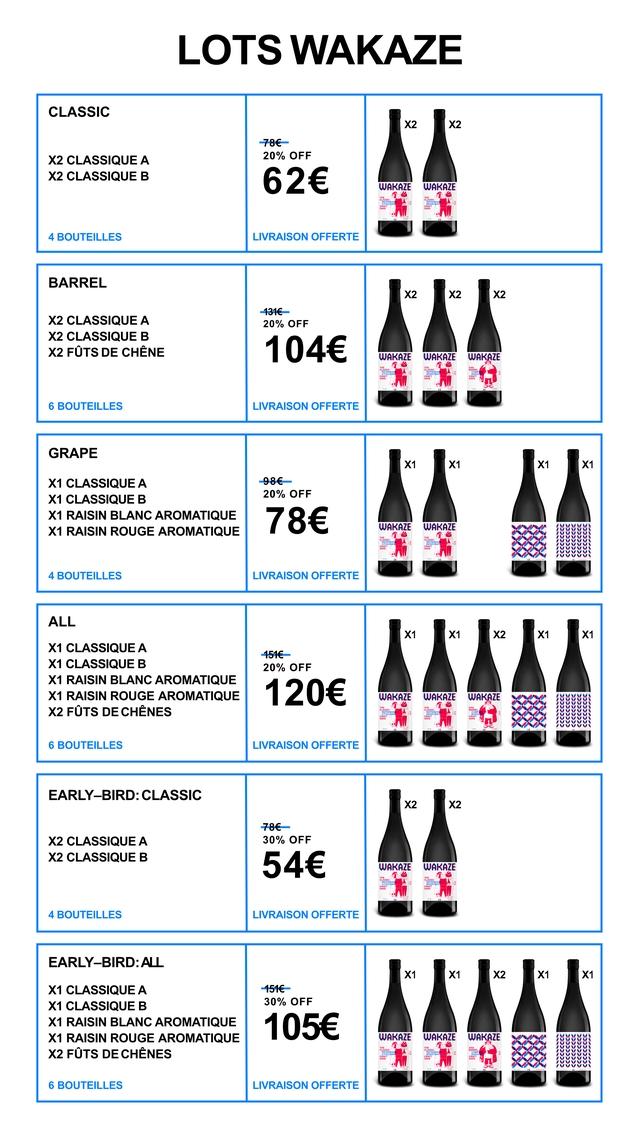 LOTS WAKAZE CLASSIC X2 X2 -78€ X2 CLASSIQUE A 20% OFF X2 CLASSIQUE B 62€ WAKAZE WAKAZE 4 BOUTEILLES LIVRAISON OFFERTE BARREL X2 X2 X2 -131€ X2 CLASSIQUE A 20% OFF X2 CLASSIQUE B X2 FUTS DE CHENE 104€ WAKAZE WAKAZE WAKAZE 6 BOUTEILLES LIVRAISON OFFERTE GRAPE X1 X1 X1 X1 X1 CLASSIQUE A -98€ X1 CLASSIQUE B 20% OFF X1 RAISIN BLANC AROMATIQUE X1 RAISIN ROUGE AROMATIQUE 78€ WAKAZE WAKAZE 4 BOUTEILLES LIVRAISON OFFERTE ALL X1 X1 X2 X1 X1 X1 CLASSIQUE A X1 CLASSIQUE B 20% OFF X1 RAISIN BLANC AROMATIQUE X1 RAISIN ROUGE AROMATIQUE 120€ WAKAZE WAKAZE WAKAZE X2 DE CHENES 6 BOUTEILLES LIVRAISON OFFERTE EARLY-BIRD: CLASSIC X2 X2 -78€ X2 CLASSIQUE A 30% OFF X2 CLASSIQUE B 54€ WAKAZE WAKAZE 4 BOUTEILLES LIVRAISON OFFERTE EARLY-BIRD:A ALL X1 X1 X2 X1 X1 X1 CLASSIQUE A X1 CLASSIQUE B 30% OFF X1 RAISIN BLANC AROMATIQUE X1 RAISIN ROUGE AROMATIQUE 105€ WAKAZE WAKAZE WAKAZE X2 FOTS DE CHENES 6 BOUTEILLES LIVRAISON OFFERTE