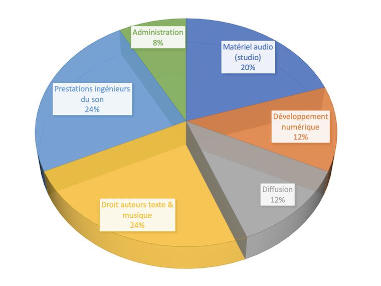 Administration 8% Matériel audio (studio) 20% Prestations ingénieurs du son 24% Développement numérique 12% Diffusion 12% Droit auteurs texte & musique 24%