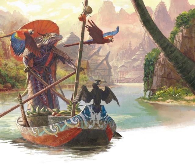 Une barque avec un aventurier dans un décors à la fois caraïbe et oriental, la grande classe