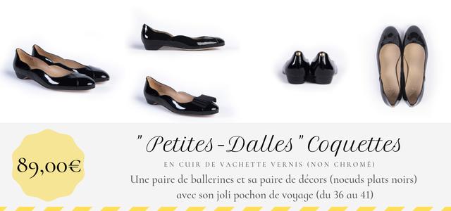 Ballerine Petites-Dalles Coquettes Maison Castille en cuir vernis noir