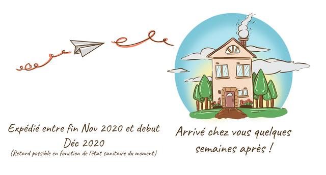 Expedie entre fin Nov 2020 et debut Arrive chez vouS quelques Dec 2020 semaines apres (Retard possible en fonction de /'etat sanitaire du moment)
