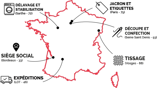JACRON ET DELAVAGE ET ETIQUETTES STABILISATION (Paris 75) (Sarthe 72) DECOUPE ET CONFECTION (Seine Saint Denis 93) SIEGE SOCIAL TISSAGE (Bordeaux- 33) (Vosges - 88) EXPEDITIONS (LOT- 46)